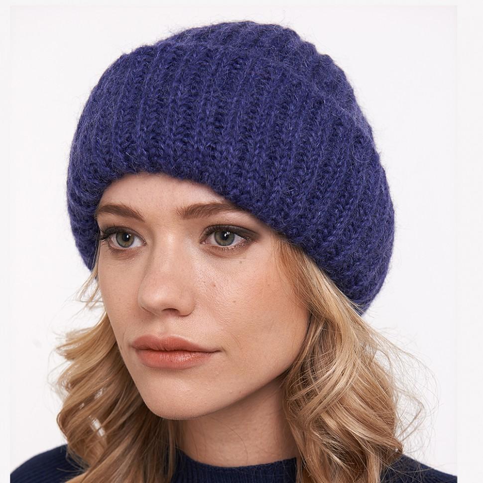 купить вязаная шапка из мохера с отворотом в интернет магазине